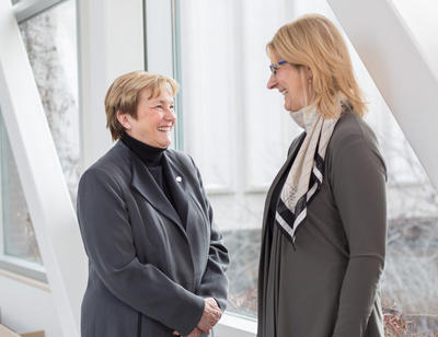 Barb Shellian, BN'79, MN'83, president of the Canadian Nurses Association and member of the Community Advisory Council, left, and Dianne Tapp, dean, Faculty of Nursing.