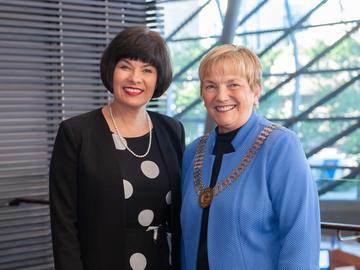 Barb Shellian with the Honourable Ginette Petitpas Taylor, Canadian Minister of Health.
