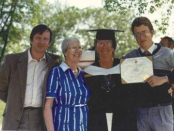 From left, David McAmmond (friend), Helen Fischer Morrison (mother), Diana Mansell and Will lauber (son) at her MA graduation from University of Calgary.