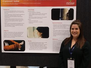 Imanoff presenting a poster about maternal mental health -PTSD at Sigma Theta Tau International Conference in Calgary in 2019.