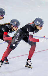 Isabelle Weidemann, Ivanie Blondin, and Valérie Maltais at the ISU World Speed Skating Championship, Friday, Feb. 12, 2021.