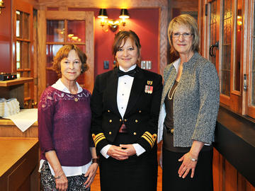 From left, Faith Nixdorff (BN'74), Jo-Ann Hnatiuk (MN'01) and Dianne Tapp (PhD'97, MN'93) at the inaugural Marguerite Schumacher Memorial Alumni Lecture in 2014.