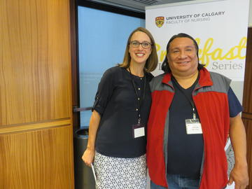 Director of Indigenous Initiatives Heather Bensler, left, with Elder Adrian Wolfleg. In 2017, the Faculty of Nursing responds to the Truth and Reconciliation Commission of Canada's call-to-action for nursing schools and creates a platform for Indigenous Initiatives.